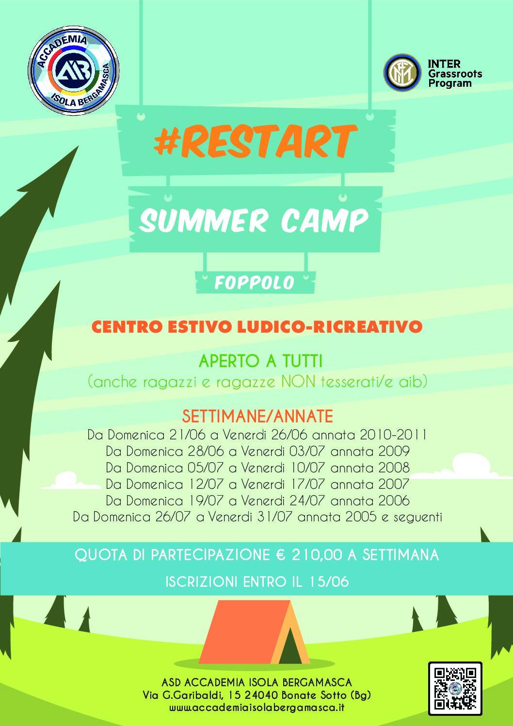 *RESTART SUMMER CAMP & STAGIONE 2020/ 2021*